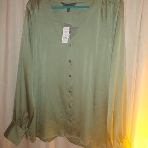 Silk Button Front Blouse